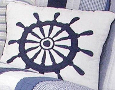 Nantucket Dream Ships Wheel Pillow