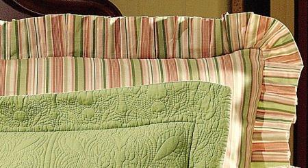 Pink & Sage Stripes Euro Sham