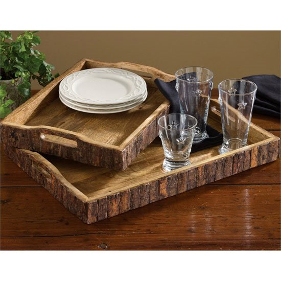 Wood Trays with Bark Edge set of 2