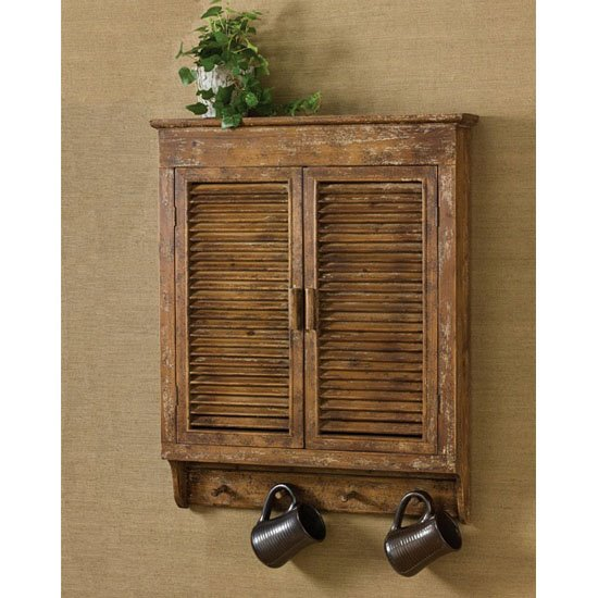 Distressed Wood Shutter Cabinet 26x32