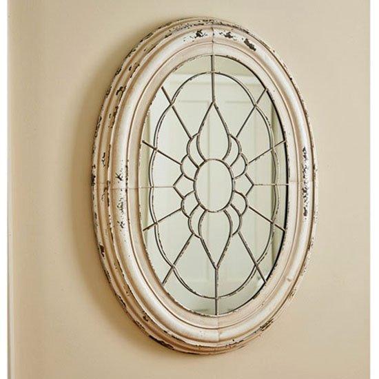 Window Frame Mirror Aged Cream