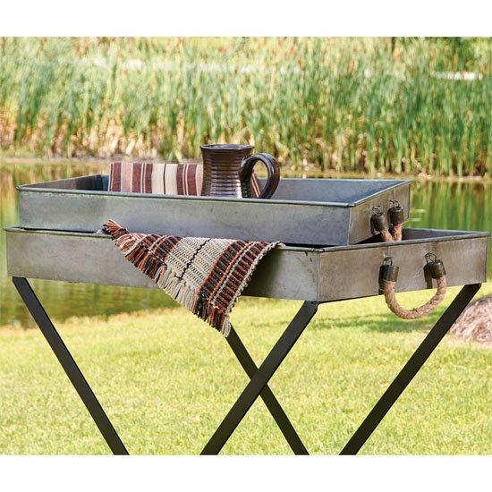 Galvanized Tin Trays set of 2