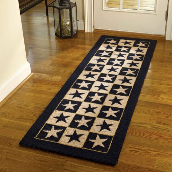 Black Star Hook Rug Runner 24x72