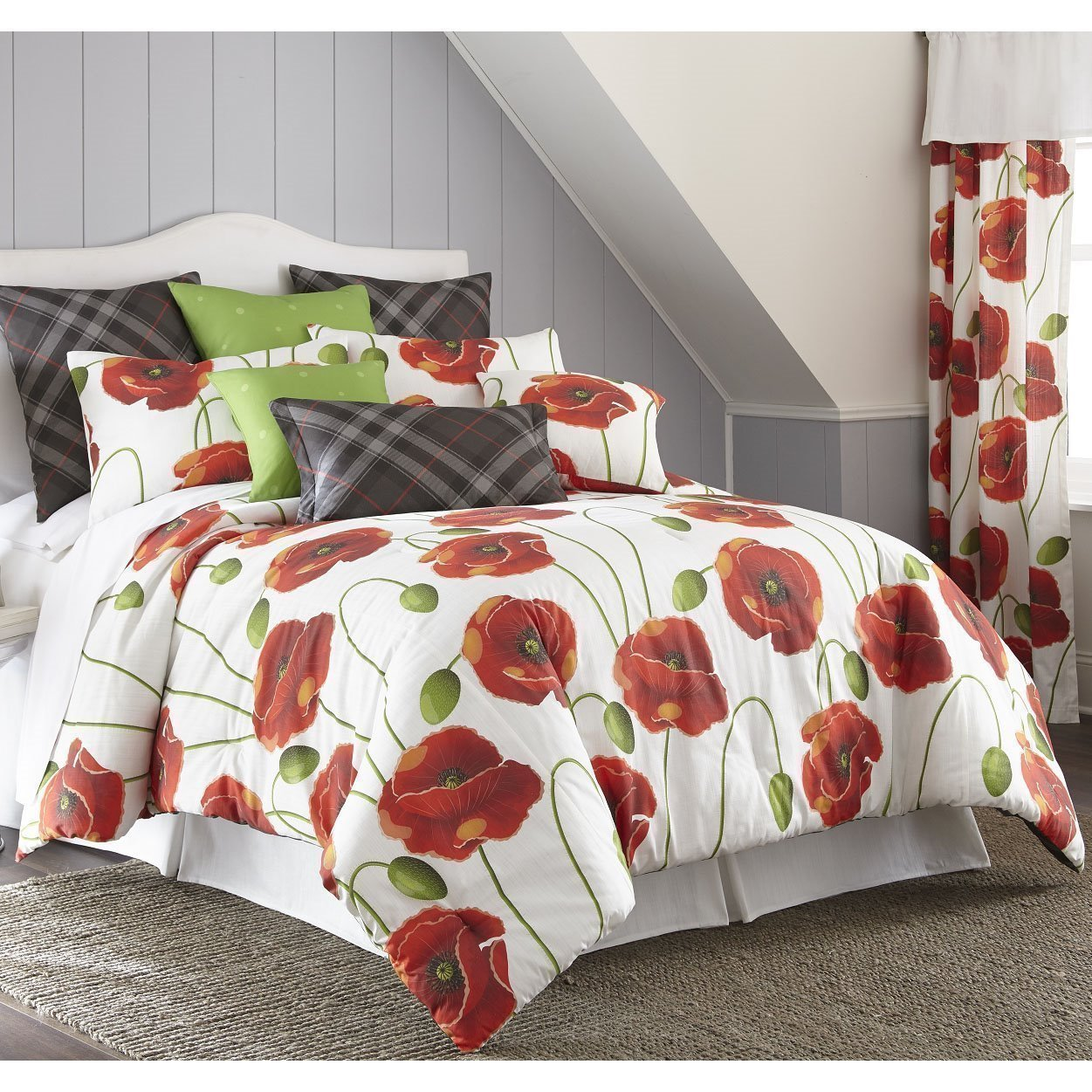 Poppy Plaid Duvet Cover Set Queen Size