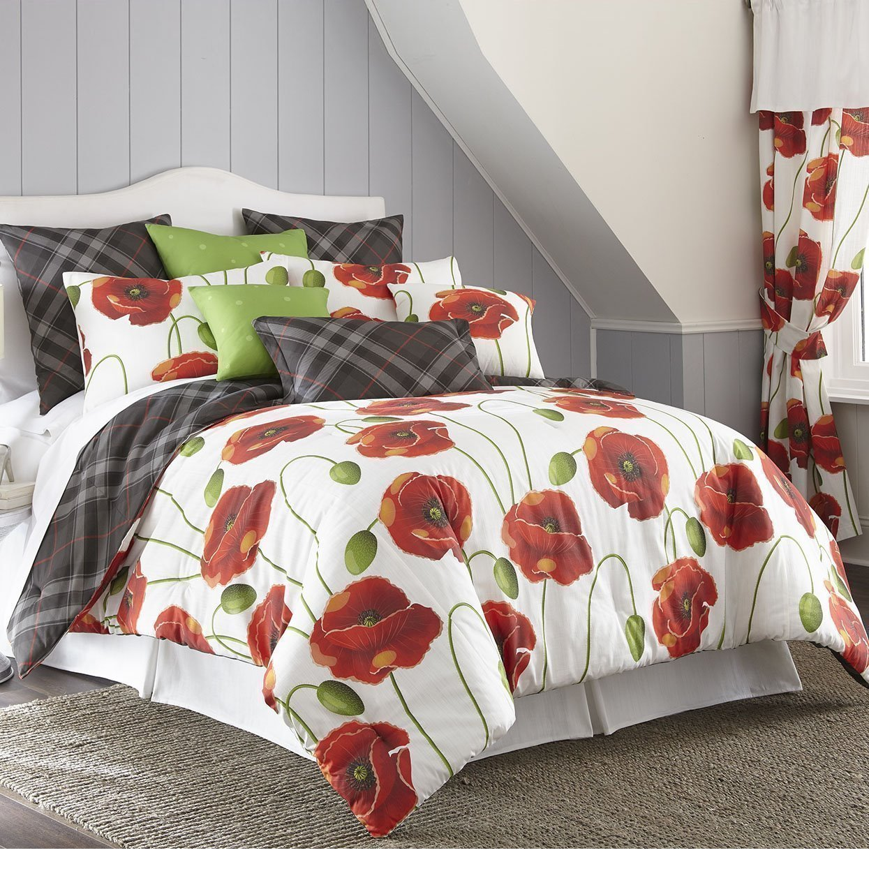 Poppy Plaid Reversible Duvet Cover Set Super Queen