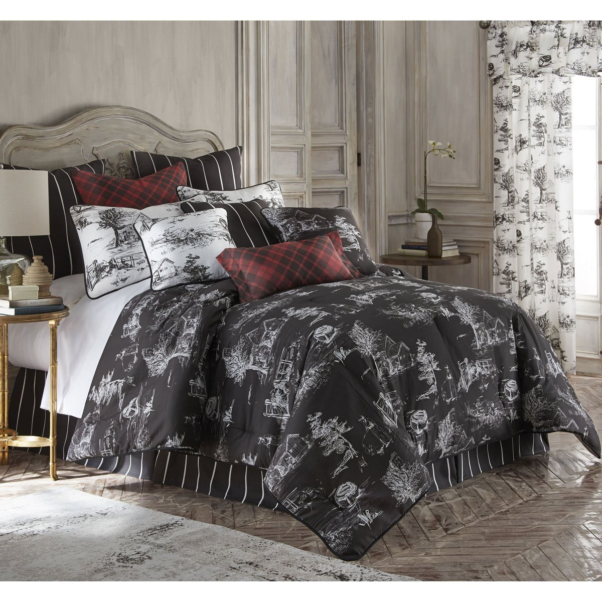 Toile Back In Black Duvet Cover Set Queen Size