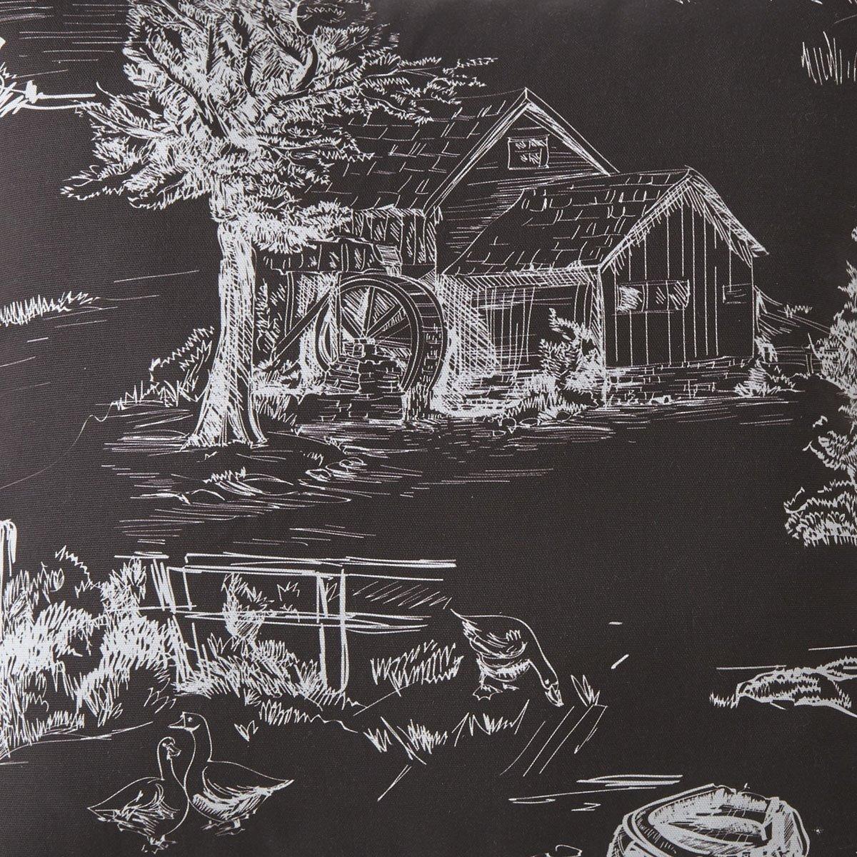 Toile Back In Black Drapery Panels Each -Black Background, White Print