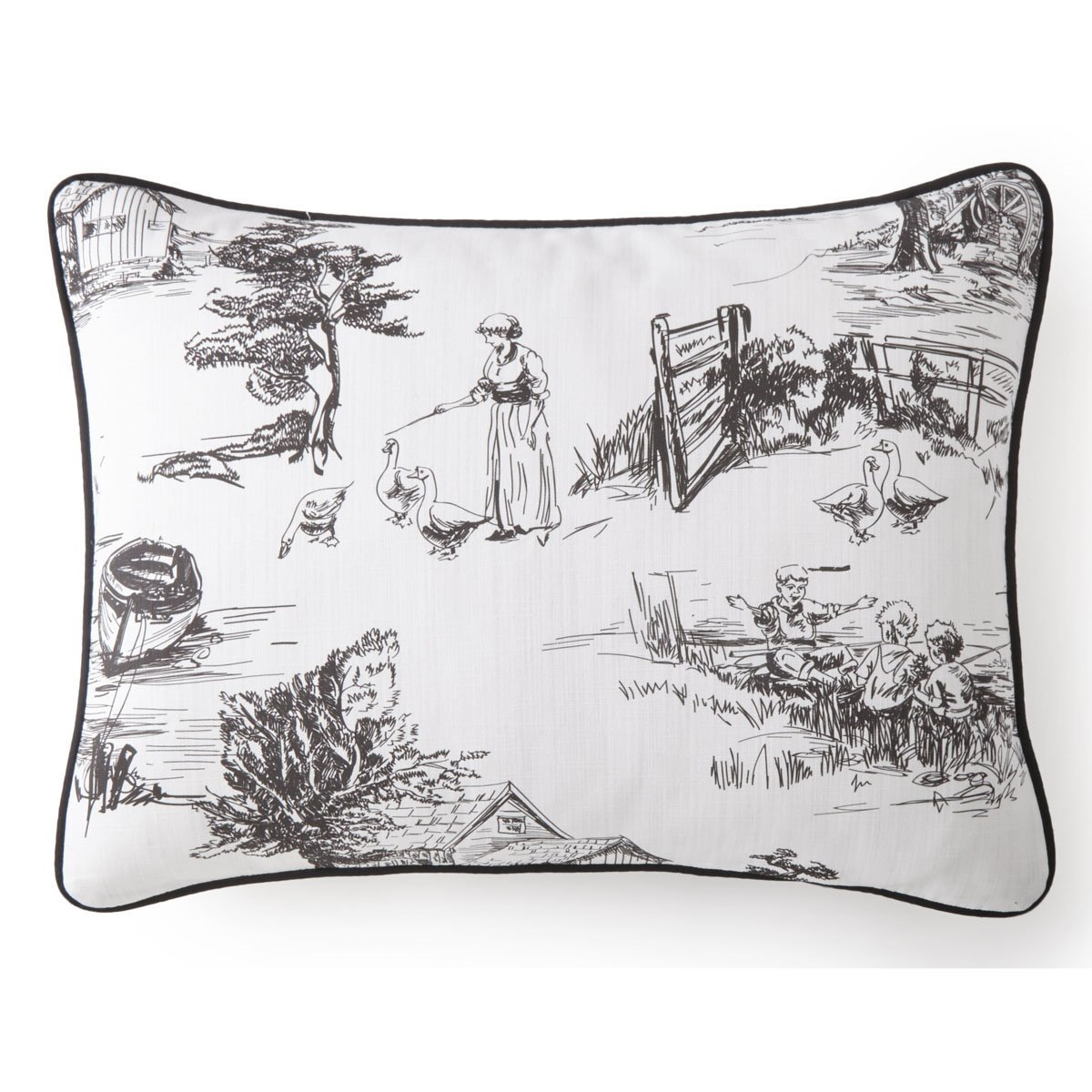 Toile Back In Black Pillow Sham Std/Queen