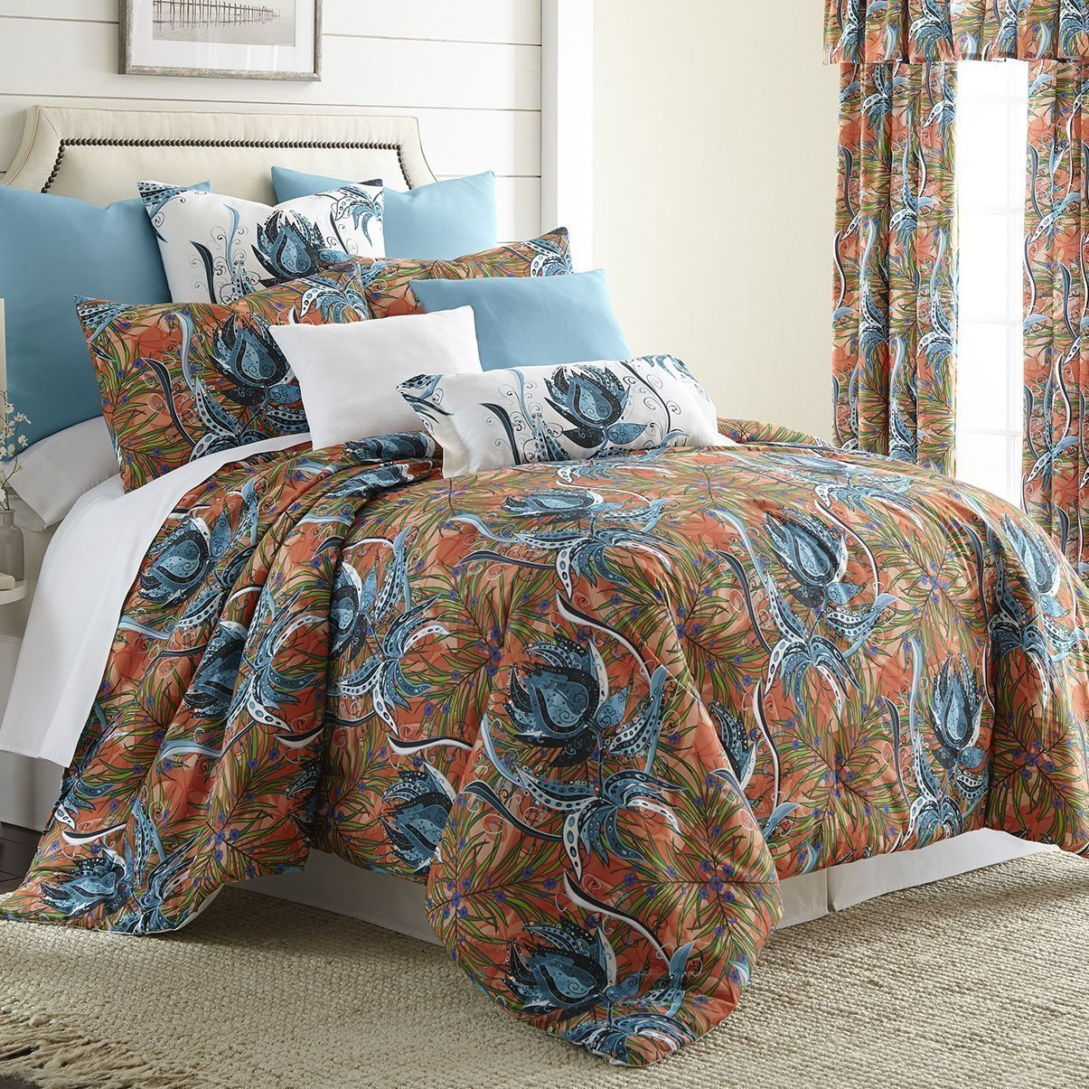 Tropical Bloom Duvet Cover Set Queen Size