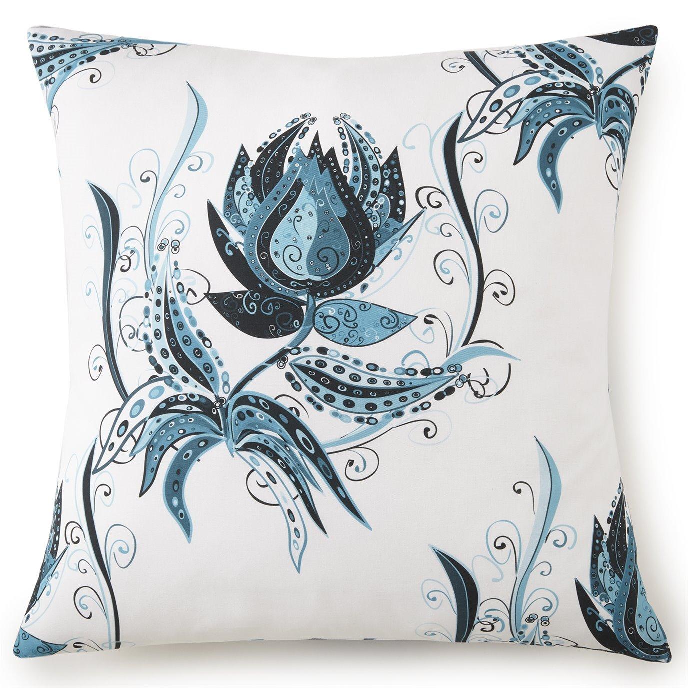 Tropical Bloom Euro Sham - White Background, Blue Print