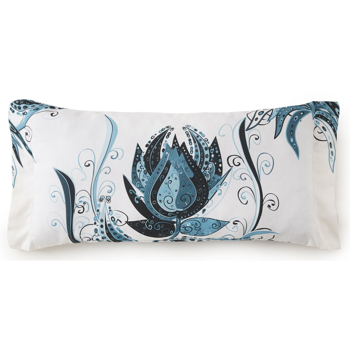 Tropical Bloom Long Rectangle Cushion - White Background, Blue Print
