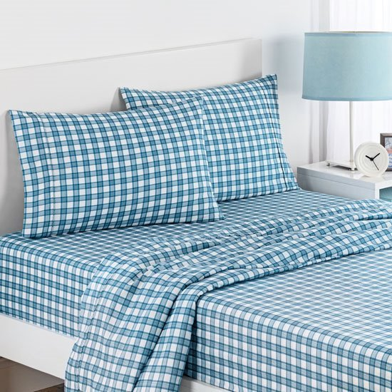 Waverly Kids Norfolk Plaid Indigo Sheet Set Twin Size