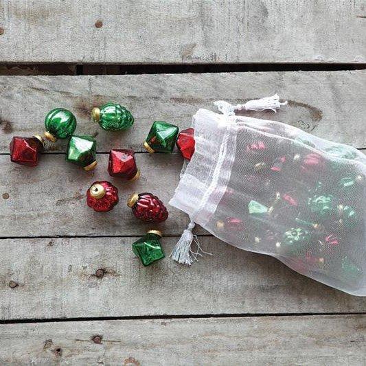 Mercury Glass Ornaments Set of 36: Red & Green