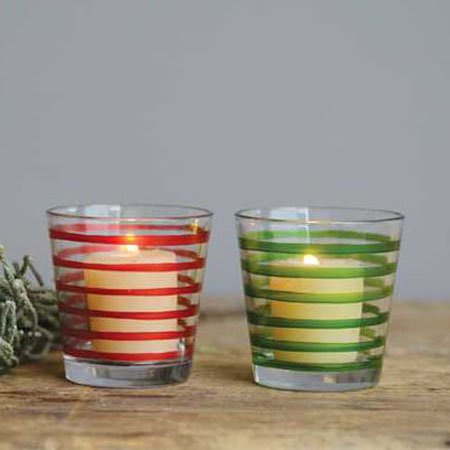 Glass Tealight Holders Set of 2: Red & Green