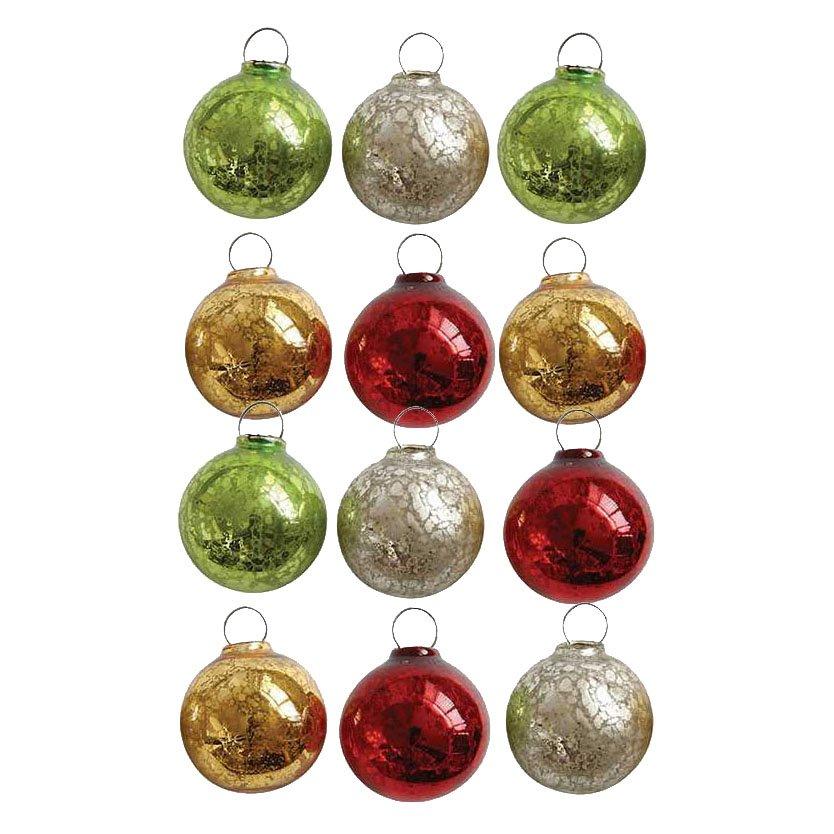Festive Mini Glass Ball Ornaments Boxed Set of 12