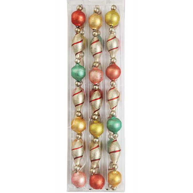 "Vintage Christmas Glass Multi-color Garland 72"" Long"