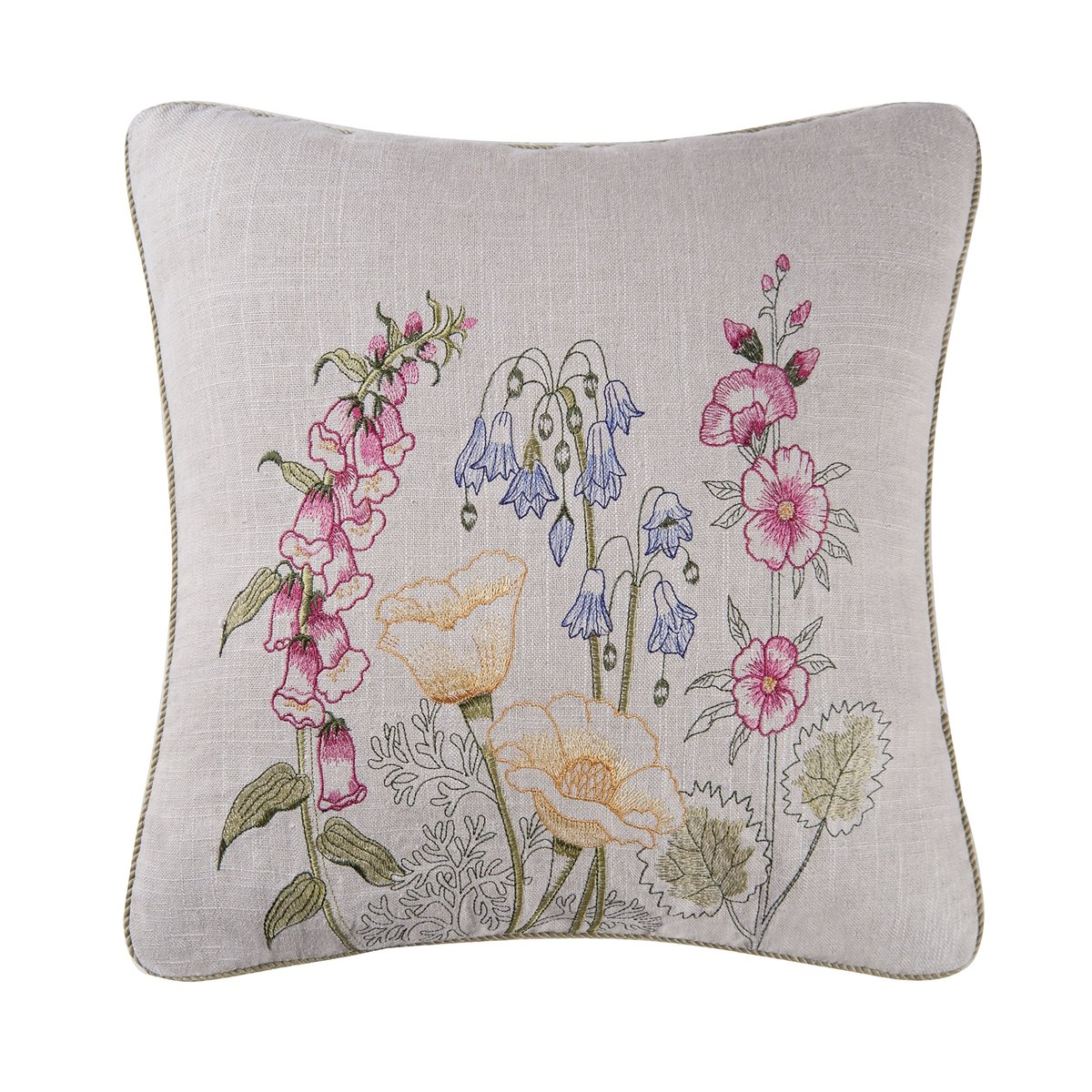Jeanette Embroidered Pillow with yellow poppies
