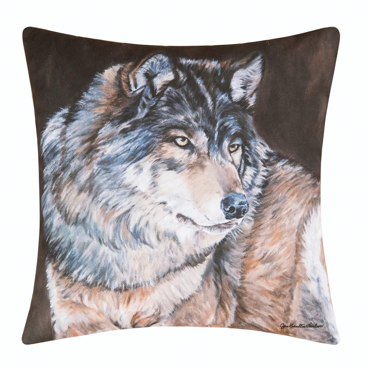 Caleb Wolf Indoor/Outdoor Pillow