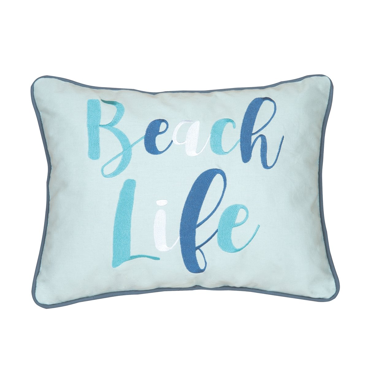 Brisbane Beach Life Multi Blue Embroidered Pillow