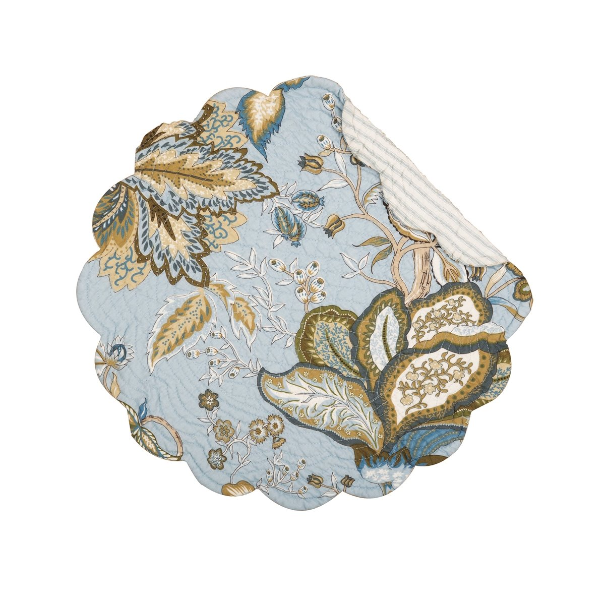 Bethany Blue Round Quilted Placemat