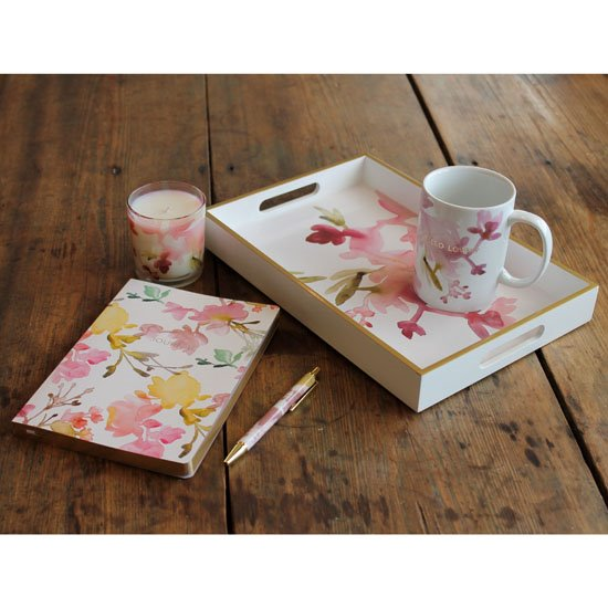Mug, Candle, Tray, Pen and Journal Floral Gift Set
