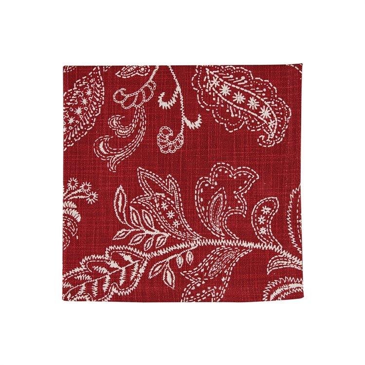 Stitches Print Napkin - Red