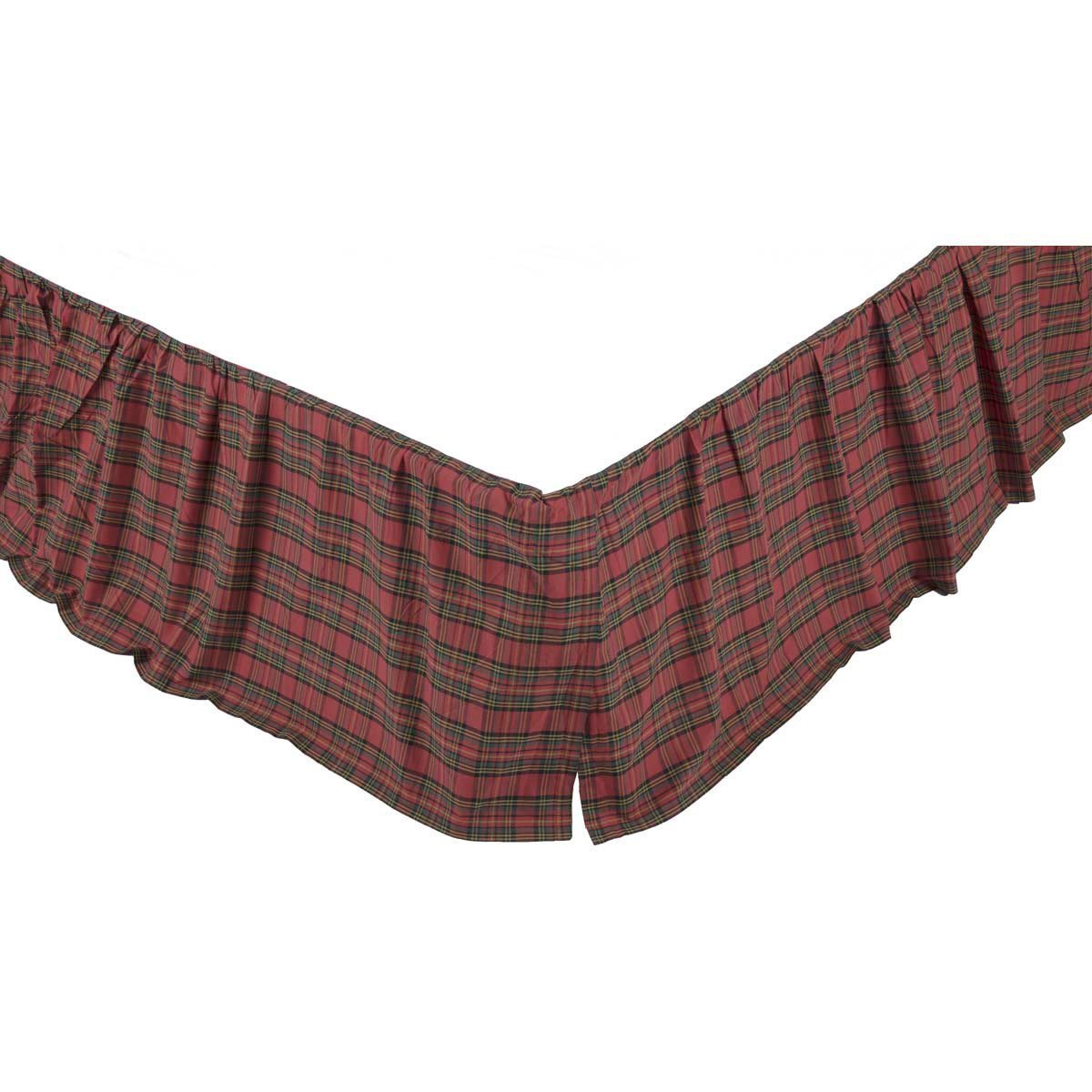 Tartan Red Plaid Queen Bed Skirt