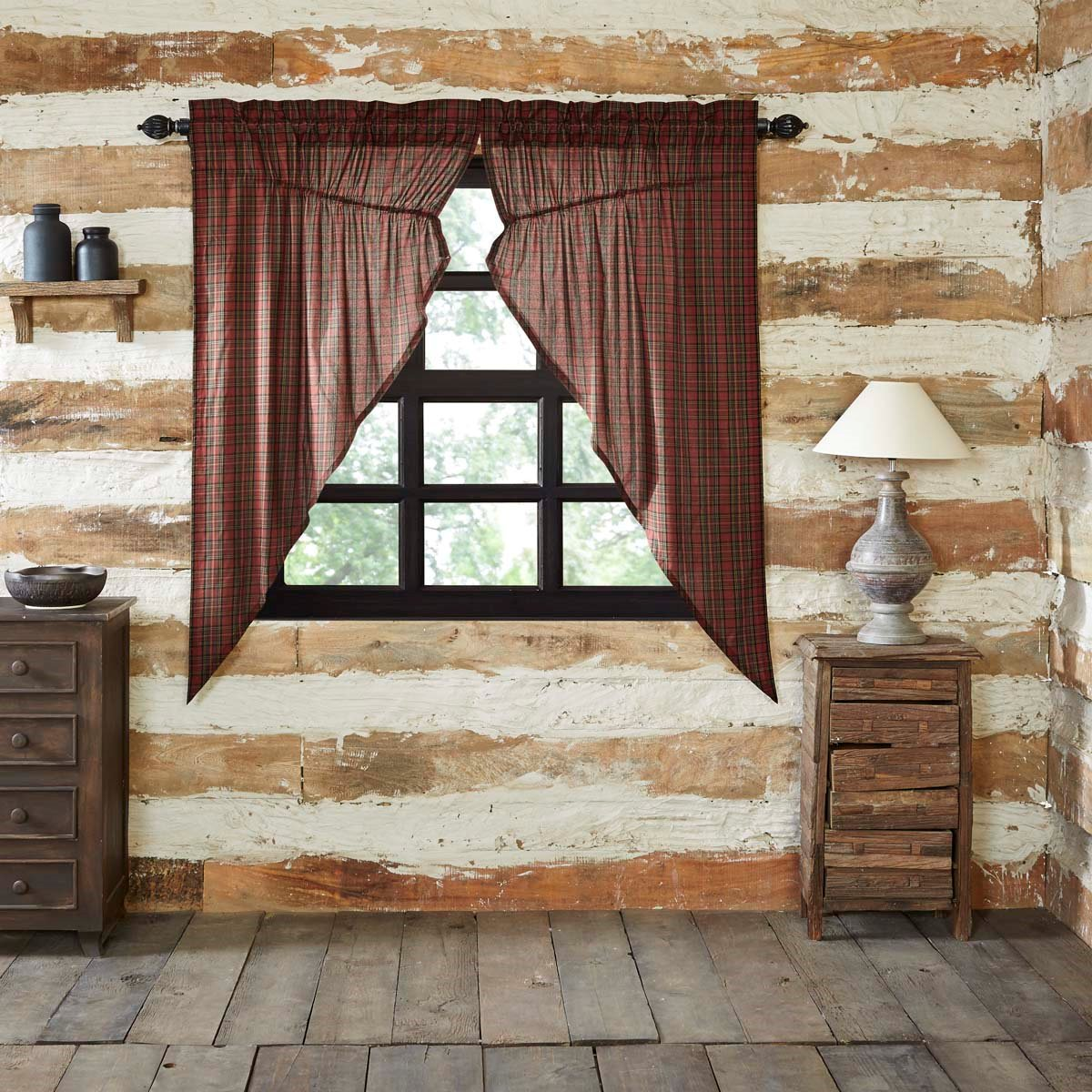 Tartan Red Plaid Prairie Curtain set of 2 (63L x 36W)