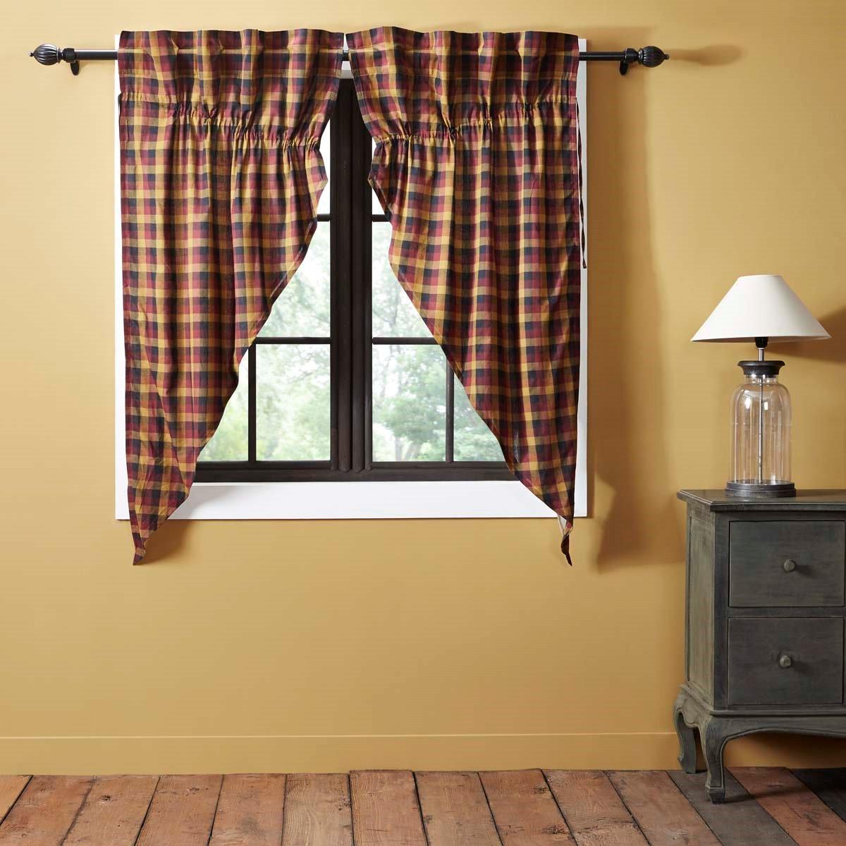 Primitive Check Prairie Curtain set of 2 (63L x 36W)