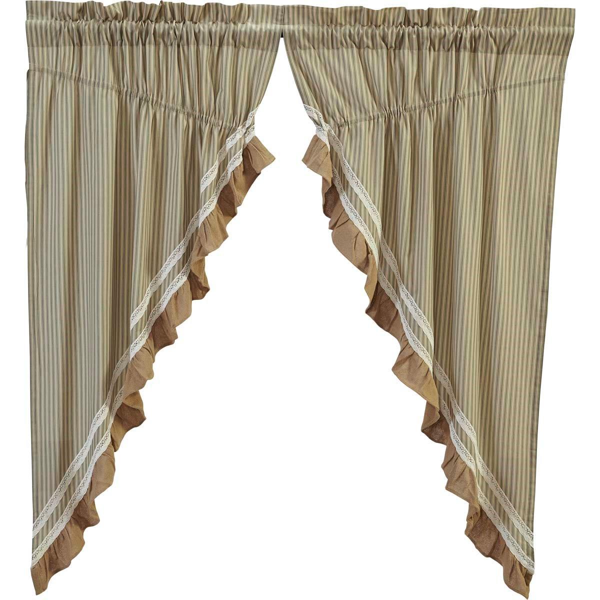 Kendra Stripe Green Prairie Curtain set of 2 (63L x 36W)