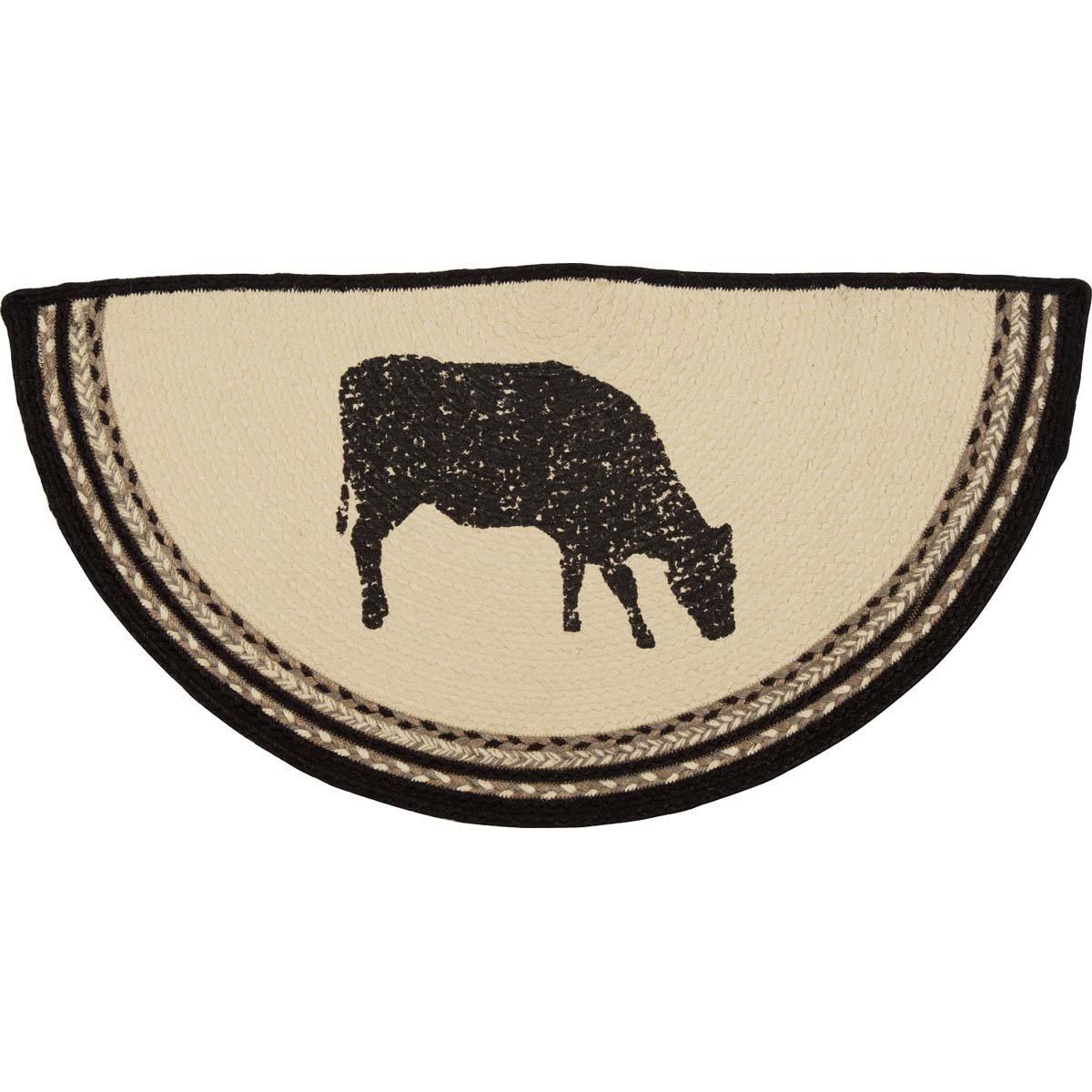 Sawyer Mill Cow Jute Rug Half Circle (16.5x33)