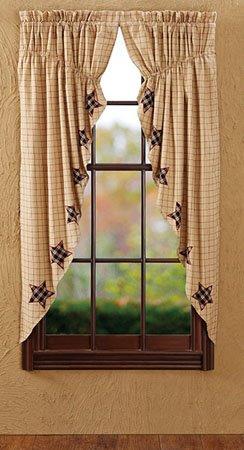 """Bingham Star 63"""" Applique Star Prairie Curtains"""
