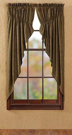 """Tea Cabin 63"""" Green Plaid Prairie Curtains"""