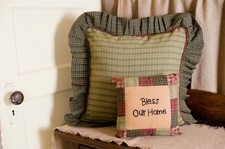 "Tea Cabin 16"" Ruffled Fabric Pillow"