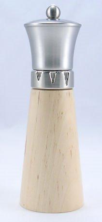 Signature Natural Wood/Brushed Metal Top Salt Mill (9 in.)