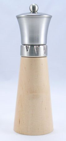 Signature Natural Wood/Brushed Metal Top Pepper Mill (9 in.)