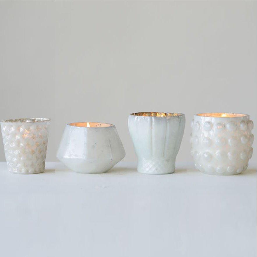 White Mercury Glass Votive Holders Set of 4