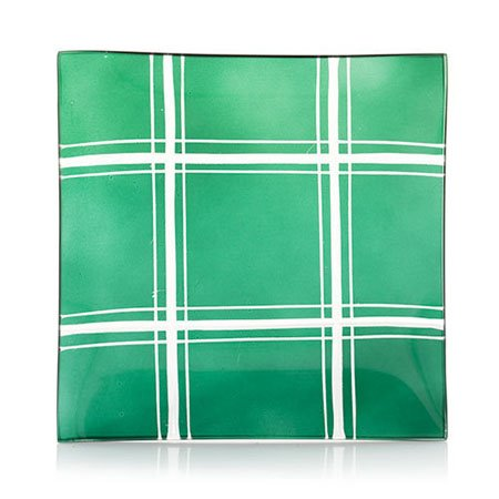 Yankee Candle Green Plaid Cut Glass Candle Plate