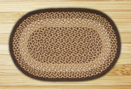 Chocolate & Natural Oval Braided Rug 8'x11' Thumbnail