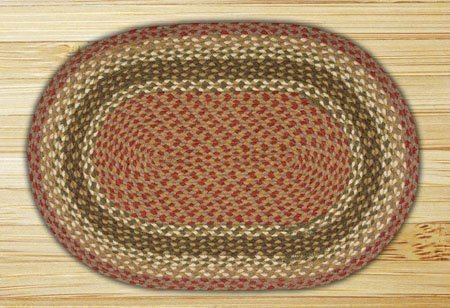 Olive, Burgundy & Gray Oval Braided Rug 8'x11' Thumbnail