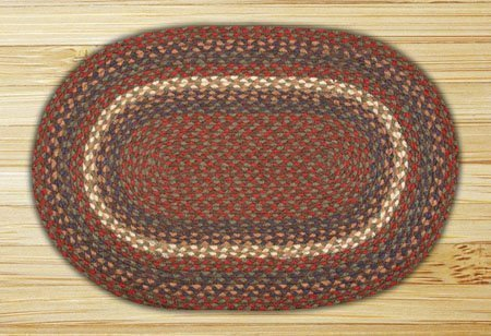 "Burgundy & Gray Oval Braided Rug 20""x30"" Thumbnail"
