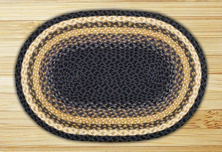 "Light Blue, Dark Blue & Mustard Oval Braided Rug 27""x45"" Thumbnail"