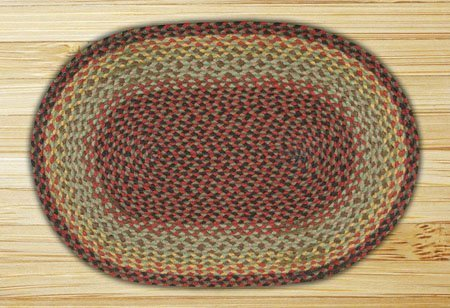 "Burgundy, Black & Sage Oval Braided Rug 20""x30"" Thumbnail"