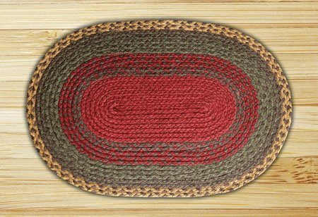 "Burgundy, Green & Sunflower Oval Braided Rug 20""x30"" Thumbnail"