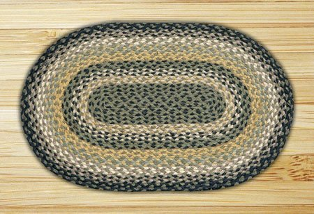 "Black, Mustard & Cream Oval Braided Rug 27""x45"" Thumbnail"