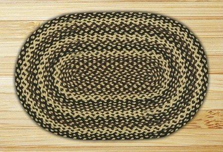 Ebony, Ivory & Chocolate Oval Braided Rug 5'x8' Thumbnail