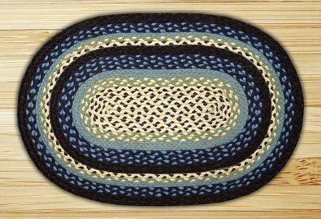 "Blueberry & Cream Oval Braided Rug 27""x45"" Thumbnail"