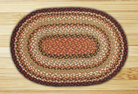 Burgundy, Mustard & Ivory Oval Braided Rug 2'x8' Thumbnail