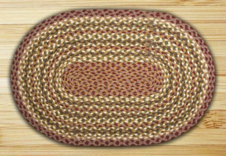 Olive, Burgundy, Ivory & Gray Oval Braided Rug 2'x8' Thumbnail