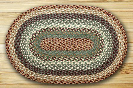 "Buttermilk & Cranberry Oval Braided Rug 20""x30"" Thumbnail"